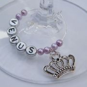 Tiara Crown Personalised Wine Glass Charm